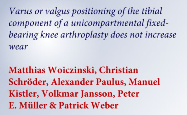 Study: Partial knee joint prosthesis